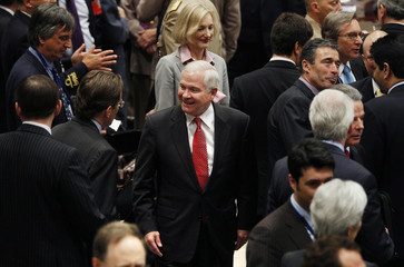 U.S. Defense Secretary Robert M. Gates arrives to participate in NAC and non-NATO ISAF Contributors meeting in Brussels