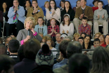 U.S. Democratic presidential candidate Hillary Clinton pauses while speaking at a campaign town hall meeting in Dover