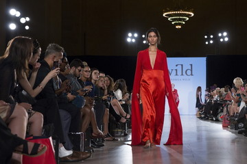 A model presents a creation from the Wild range during the FTL Moda presentation of the Spring/Summer 2016 collection during New York Fashion Week in Vanderbilt Hall at Grand Central Station, New York