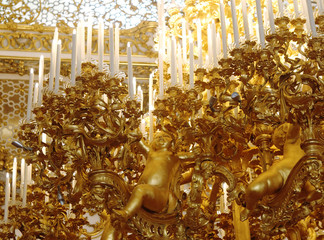 The gold plated chandelier of the great dancing hall is pictured inside the Stadtpalais Liechtenstein in Vienna