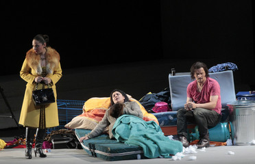 "Singers perform on stage during dress rehearsal of Giacomo Puccini's opera ""La Boheme"" in Salzburg"