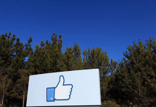 "A giant ""like"" icon made popular by Facebook is seen at the company's new headquarters in Menlo Park"