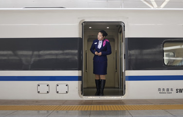 A train employee looks out from an entrance of a CRH Harmony bullet train in Zhengzhou
