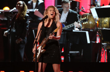 """Tori Kelly sings the Bee Gees' """"Tragedy"""" at the 59th Annual Grammy Awards in Los Angeles"""