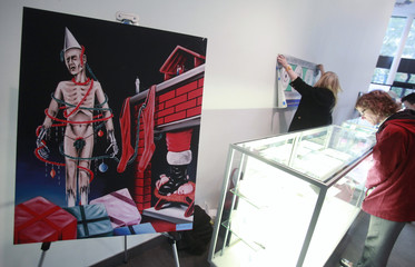 An oil painting by Kevorkian is seen during a press preview for the Sale of the Estate of Jack Kevorkian at the New York Institute of Technology in New York