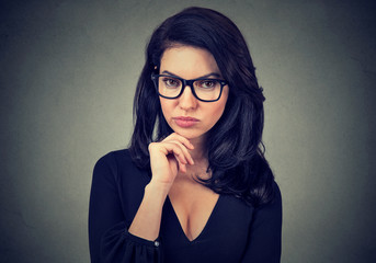 Portrait of a serious young woman