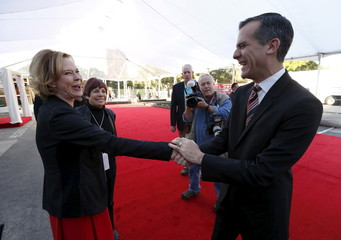 Los Angeles Mayor Garcetti greets Williams, SAG Awards Committee Chair, during preparations for the 22nd annual Screen Actors Guild Awards at the Shrine Auditorium in Los Angeles