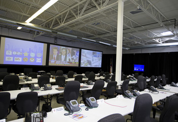A general view shows the working space at the Multi-Agency Communication Center in Charlotte, North Carolina