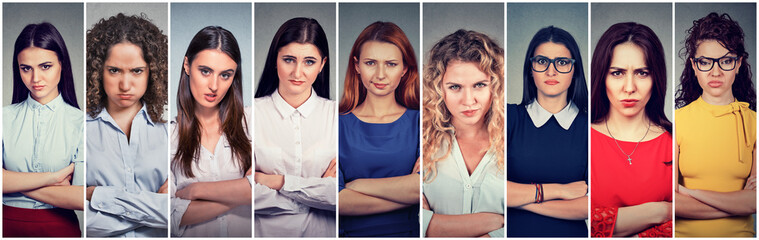 Angry grumpy group of pessimistic women with bad attitude