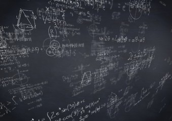 White math doodles and navy chalkboard