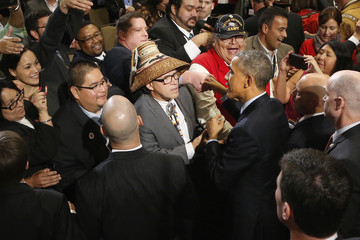 U.S. President Barack Obama greets attendees after delivering remarks at the White House Tribal Nations Conference in Washington