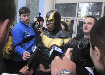 "Benjamin Fodor, aka Seattle superhero ""Phoenix Jones"", speaks to the media  after making a court appearance in Seattle, Washington"
