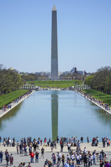 Famous view in Washington - The Reflecting Pool and Washington Monument - WASHINGTON, DISTRICT OF COLUMBIA - APRIL 8, 2017