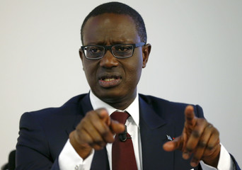 CEO Thiam of Swiss bank Credit Suisse addresses a media briefing in Zurich