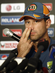Australia's captain Ponting gestures during a news conference in Ahmedabad