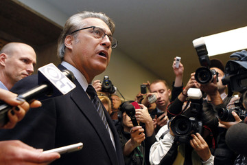 San Francisco Sheriff Mirkarimi speaks to the media following a court appearance for his domestic abuse case at San Francisco County Courthouse in San Francisco