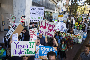 Demonstrators march on Market Street during a rally in support of the state's upcoming Proposition 37 ballot measure in San Francisco