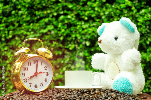 Good Morning At 7 Oclock With White Hot Drink Cup Teddy Bear