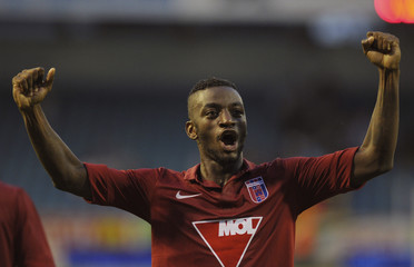 Stopira of Videoton celebrates after winning against Gent during their Europa League third qualifying round second leg soccer match in Ghent