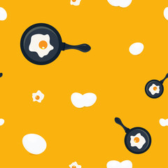 Eggs seamless pattern. Great as napkin print, apron pattern, towel or oven-glove print.