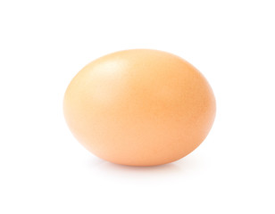 Raw chicken egg on white background with clipping path