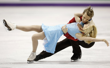 Tobias and Stagniunas of Lithuania perform during the Ice Dance Short Dance at the ISU World Figure Skating Championships in London, Ontario