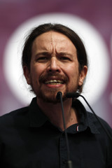 Iglesias, leader of Spain's Podemos (We Can) party delivers his speech during a Podemos campaign rally for Andalusian regional elections in downtown Malaga