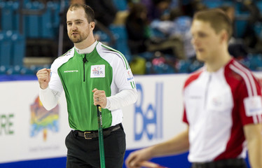 Team Saskatchewan skip Laycock celebrates his team's win over team Newfoundland/Labrador during the 2014 Tim Hortons Brier curling championships in Kamloops.