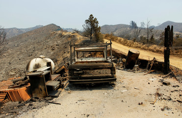 A burned out vehicle is seen at the site of a destroyed house after the Soberanes Fire burned through the Palo Colorado area, north of Big Sur, California