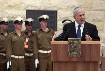 Israel's Prime Minister Benjamin Netanyahu speaks during a Memorial Day ceremony, at the Mount Herzl military cemetery in Jerusalem