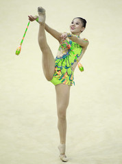 Deng of China performs during the individual clubs competition final at the 32nd Rhythmic Gymnastics World Championships in Kiev