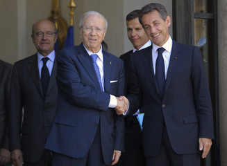 France's President Sarkozy shakes hands with Tunisia's Prime Minister Beji Caid Essebsi in Paris