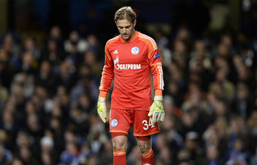 FC Schalke 04 goalkeeper Hildebrand reacts during their Champions League soccer match against Chelsea in London