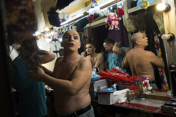 Performers prepares to take part in a drag queen show backstage at Mayak, a gay cabaret club in Sochi, south western Russia