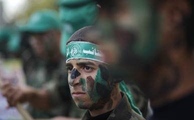 Hamas boy scouts take part in an anti-Israel march in the northern Gaza Strip