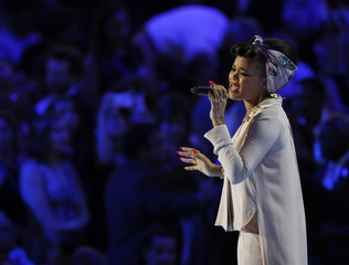 "Recording artist Andra Day sings ""Rise Up"" at the Democratic National Convention in Philadelphia"