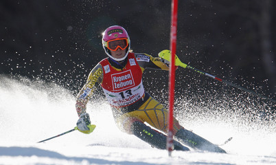Canada's Gagnon speeds down during the ladies' slalom race at the alpine ski World Cup finals in Schladming