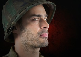 foreground of soldier side-face. red and black background