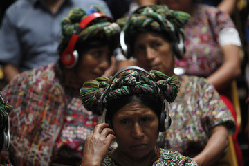 Indigenous women from the Ixil region attend the genocide trial of former Guatemalan dictator Rios Montt, which is drawing to a conclusion, at the Supreme Court of Justice in Guatemala City
