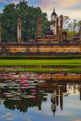 Wat Mahathat Temple at Sukhothai Historical Park, a UNESCO world heritage site., Thailand