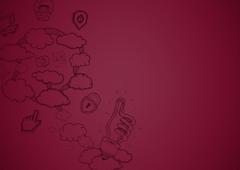 Maroon background with cloud doodles