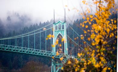 St Johns gothic style bridge Portland Oregon beautiful autumn