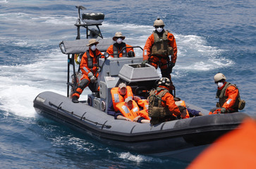 German Navy soldiers take part in drill for search and rescue operation near the harbour of Catania