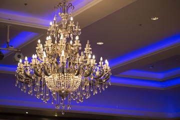big chandelier in room.