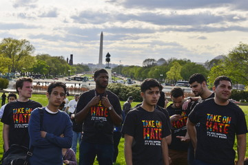 Protesters participate in a March for Justice against police violence and racial profiling on the west front lawn of the U.S. Capitol in Washington