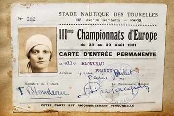 Undated photo from the 1930's of former French swimming champion Blondeau
