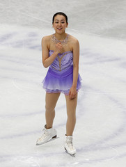 Japan's Mao Asada reacts after the women's short program at the ISU World Figure Skating Championships in Saitama