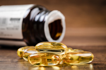 Fish oil capsules with omega 3 and vitamin D.