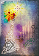 Printed kitchen splashbacks Imagination Abstract scenery with graffiti,sketches,colored spot and draws