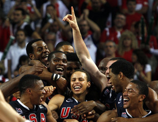 US players celebrate their victory against Turkey after their FIBA Basketball World Championship final game in Istanbul